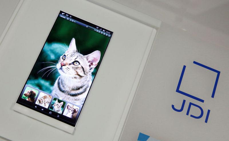 FILE PHOTO: Japan Display Inc's high resolution panel for mobile is displayed at its headquarters in Tokyo