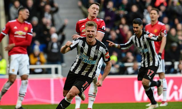 Matt Ritchie runs off to celebrate after scoring what turned out to be Newcastle United's winning goal against Manchester United at St James's Park.