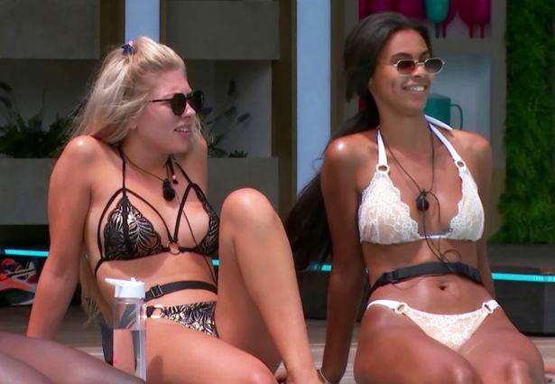 Sophie Piper, 21,and22-year-old Paige Turley wearing bikinis on Love Island.