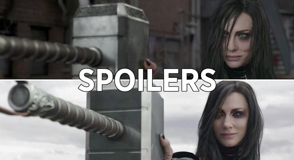 Earlier trailers showed Cate Blanchett's Hela destroying Thor's weapon in a New York alley, but in the film it happens in Norway, so what happened? (Disney/Marvel Studios)