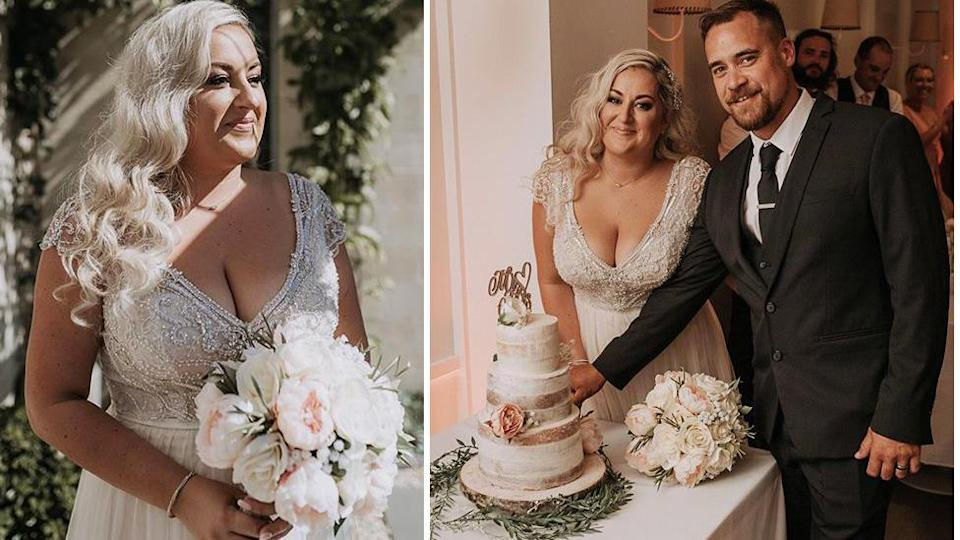 Bianca achieved a stunning bridal look – and saved thousands – with flowers from Kmart. Photo: Matt Elliott Photography