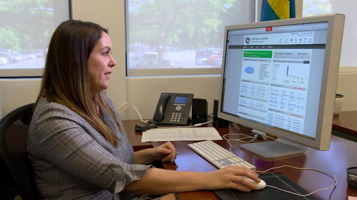 Image: Carly Yoost, CEO of the Child Rescue Coalition, shows the Child Protection System software. (NBC News)
