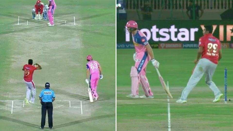 Jos Buttler was run out by Ravi Ashwin's deception. Pic: IPL