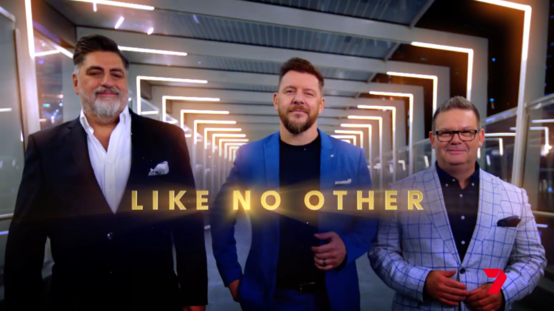 Gary with Matt Preston and Manu Feildel in the new promo for Plate Of Origin. Photo: Channel 7.