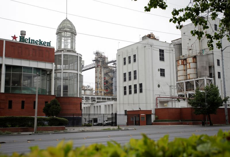 A general view shows the Cuauhtemoc Moctezuma brewery, a subsidiary of Heineken, after the company suspended production and distribution from its seven plants in Mexico, in Monterrey