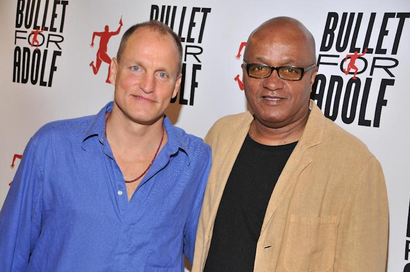 """This July 9, 2012 photo released by the O and M Co. shows Woody Harrelson, left, and Frankie Hyman pose at the """"Bullet for Proof"""" media availability in New York. The play, co-written by Harrelson and Hyman, opens off-Broadway next month at New World Stages. Harrelson also directs. (AP Photo/The O and M Co., Jenny Anderson)"""