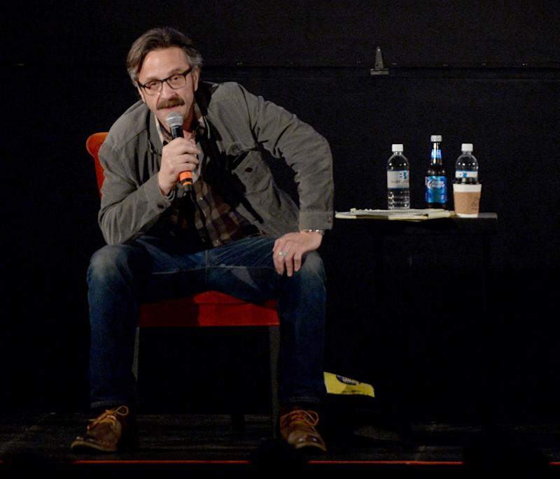 NASHVILLE, TN - MAY 15: Comedian Marc Maron performs during the Bud Light Presents Wild West Comedy Festival - Marc Maron: WTF Podcast With Vince Vaughn at the Belcourt Theatre on May 15, 2014 in Nashville, Tennessee. (Photo by Rick Diamond/Getty Images for Bud Light)