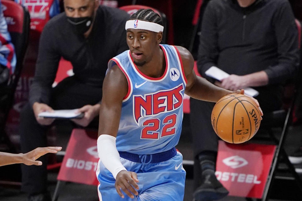 Caris LeVert's inclusion in the James Harden trade led to a fateful physical. (AP Photo/Kathy Willens)