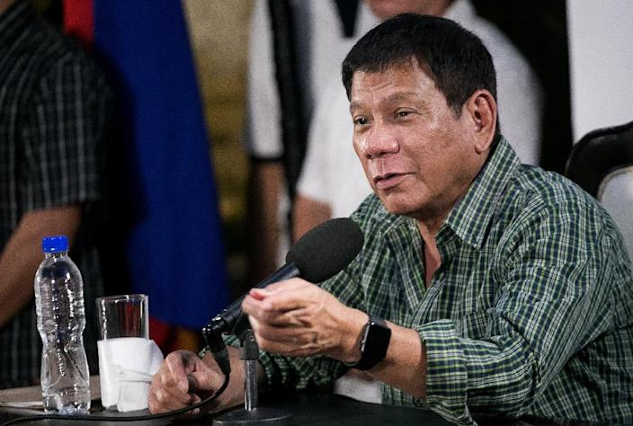 Then Philippines president-elect Rodrigo Duterte speaks during a press conference in Davao on May 31, 2016 (AFP Photo/Manman Dejeto)