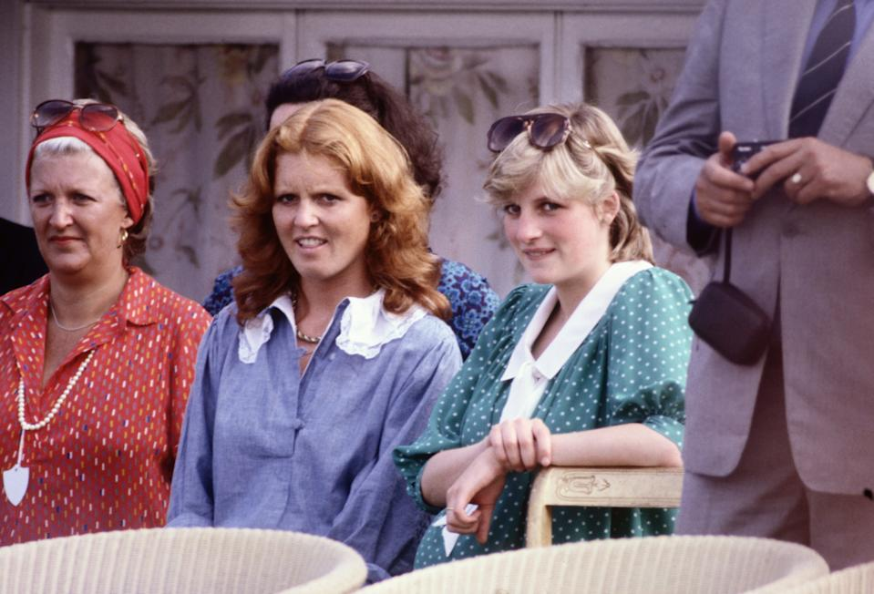 WINDSOR - JUNE:  Diana Princess of Wales with Sarah Ferguson (later the Duchess of York) watches Prince Charles playing polo at Guards Polo Club on Smiths Lawn in June 1982 in Windsor, Berkshire. (Photo by David Levenson/Getty Images)