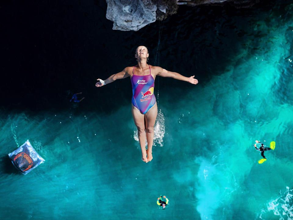 Austalian Rhiannan Iffland dives from the 21.5 meter platform during the Red Bull Cliff Diving World Series.