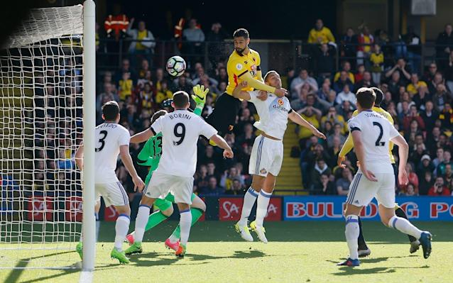 Watford's Miguel Britos scores the only goal of the game - REUTERS