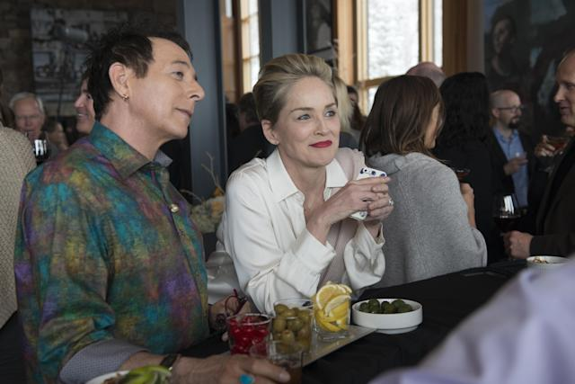 Paul Reubens and Sharon Stone in <em>Mosaic</em>. (Photo: Claudette Barius/HBO)