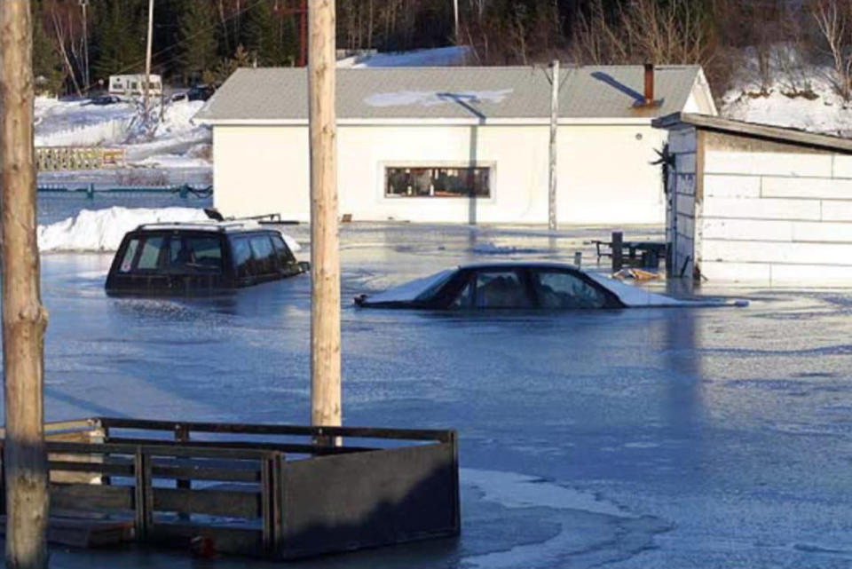 A Canadian town notorious for flooding once froze into a block of ice