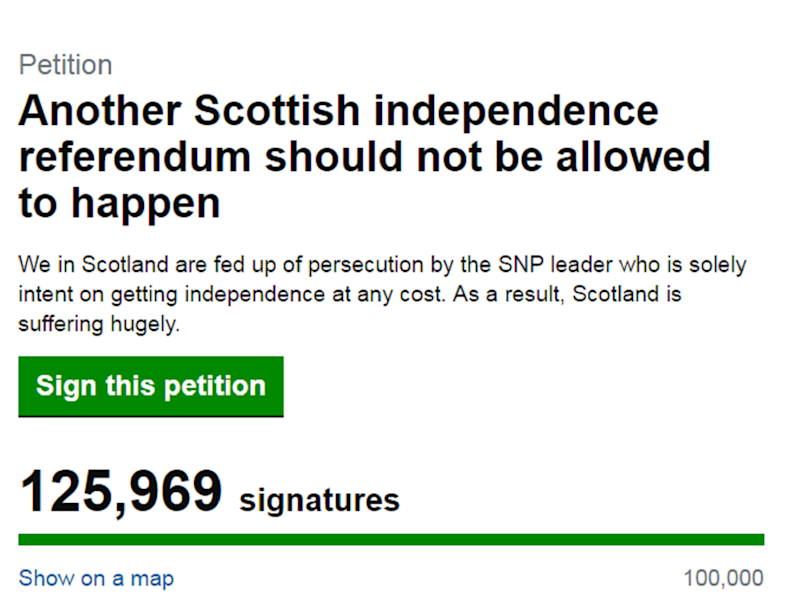 The petition claims a focus on independence is harming Scotland as a whole: Screenshot