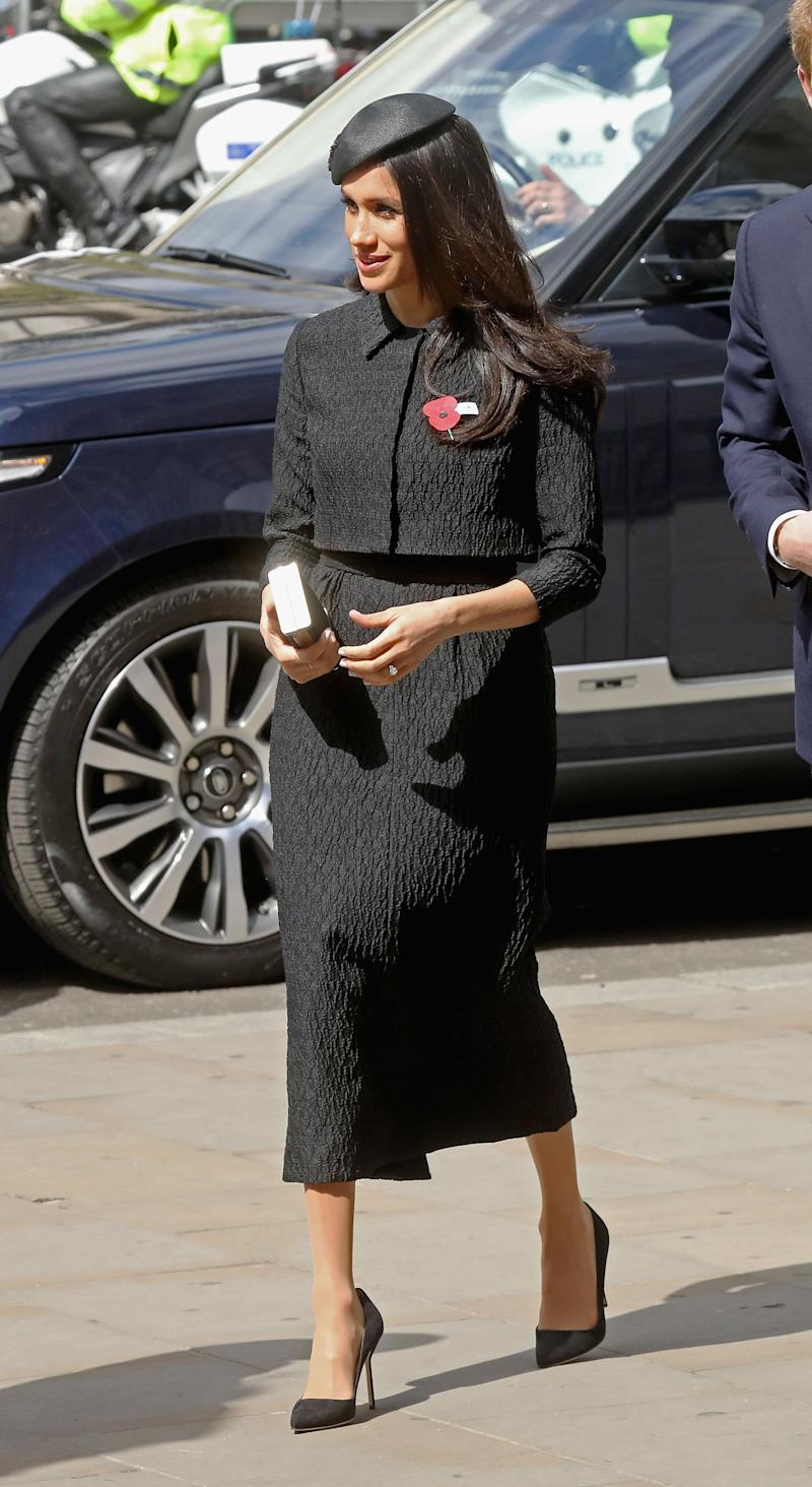 Markle attends an Anzac Day Service of Commemoration and Thanksgiving at Westminster Abbey on April 25.
