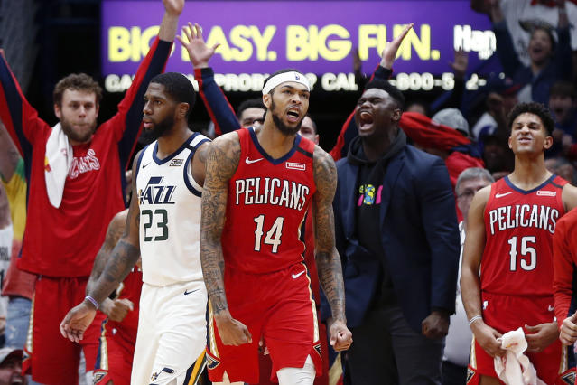 New Orleans Pelicans forward Brandon Ingram (14) reacts after making a basket with .2 seconds remaining in the second half of an NBA basketball game against the Utah Jazz in New Orleans, Thursday, Jan. 16, 2020. The Pelicans won 138-132 in overtime. (AP Photo/Gerald Herbert)
