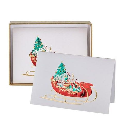 Paula Skene Toy Sleigh Christmas Cards - pack of 8 from Harrods - Credit: Smythson