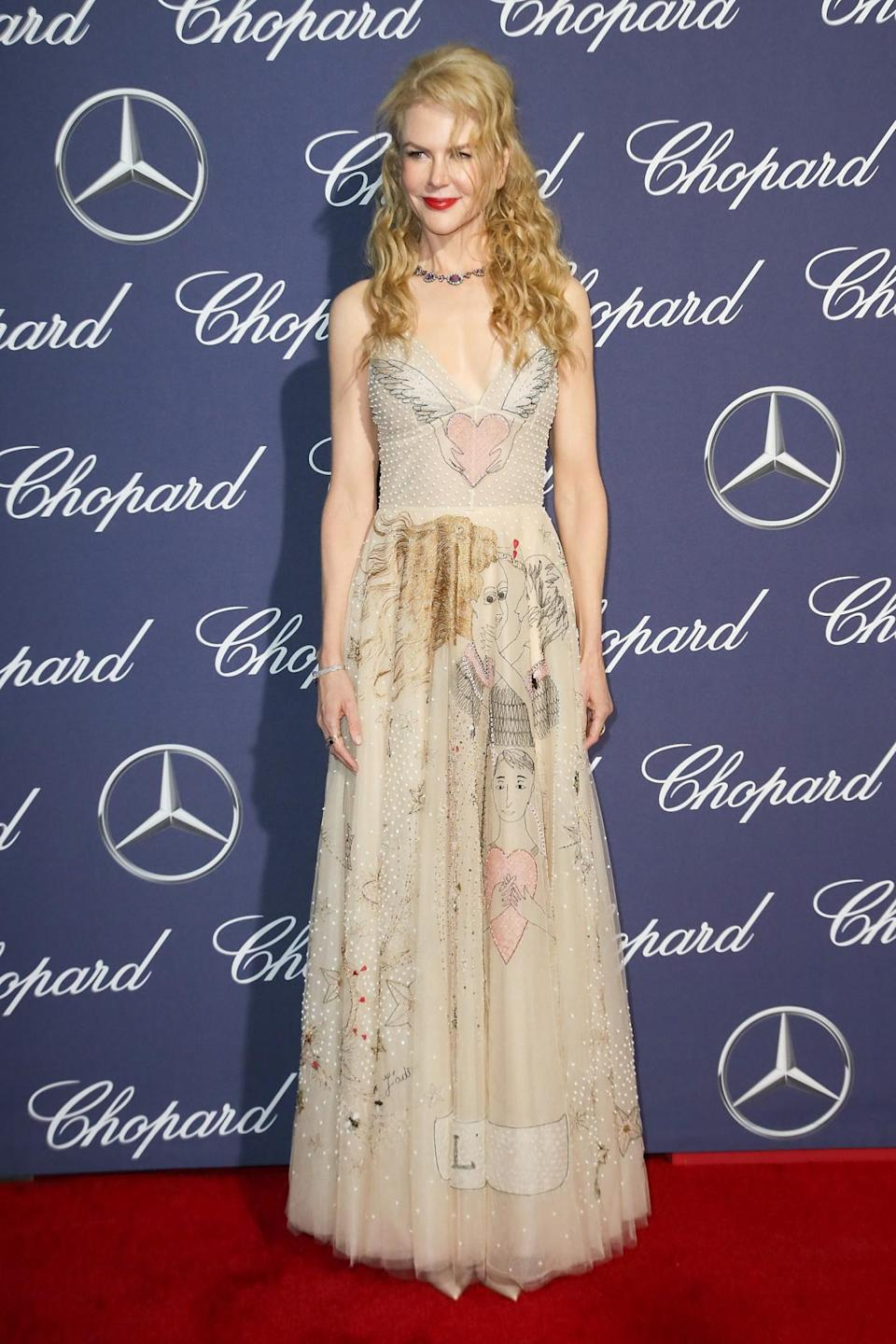 <p>The actress donned a playfully illustrated Dior dress. [Photo: Getty] </p>
