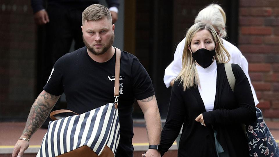 Teacher Kandice Barber, 35, leaves Aylesbury Crown Court, Buckinghamshire, with her husband Daniel. Source: PA Wire