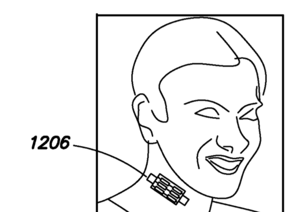 The patent suggests a wearable patch could be stuck of the neck's carotid artery to sense bloodflow from the brain (Facebook/European Patent Office)