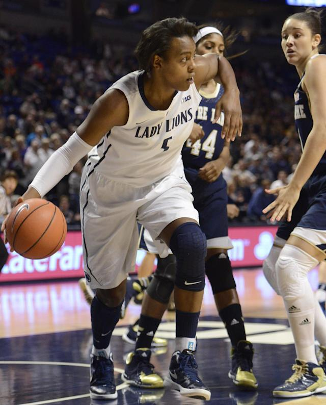 Penn State forward Talia East (5) grabs a rebound during her team's an NCAA college basketball game against Notre Dame, Wednesday, Dec. 4, 2013, in State College, Pa. Notre Dame defeated Penn State 77-67. (AP Photo/John Beale)