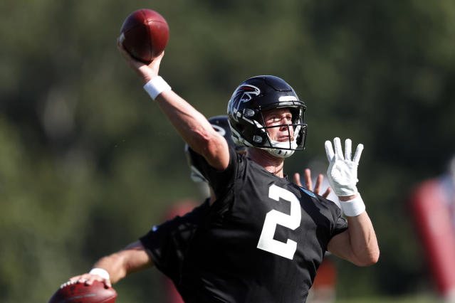 FILE - In this July 22, 2019, file photo, Atlanta Falcons quarterback Matt Ryan (2) throws a pass during their NFL training camp football practice in Flowery Branch, Ga. Last seasons decline was not acceptable only two years after Ryan led the 2016 Falcons to the Super Bowl. (AP Photo/John Bazemore, File)