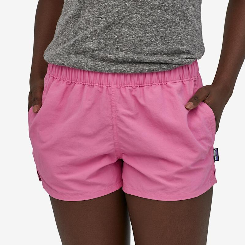 The Barely Baggies Shorts by Patagonia in marble pink. Available in 13 colours. (Image via Patagonia).