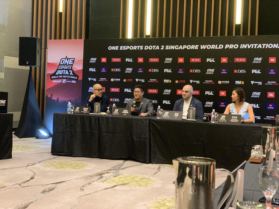 ONE Esports chief executive officer Carlos Alimurung (second from left) announces Dota 2 Singapore major tournament in June 2020. (PHOTO: Bryan Huang/Yahoo News Singapore)