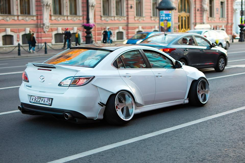 Mazda with heavily cambered wheels