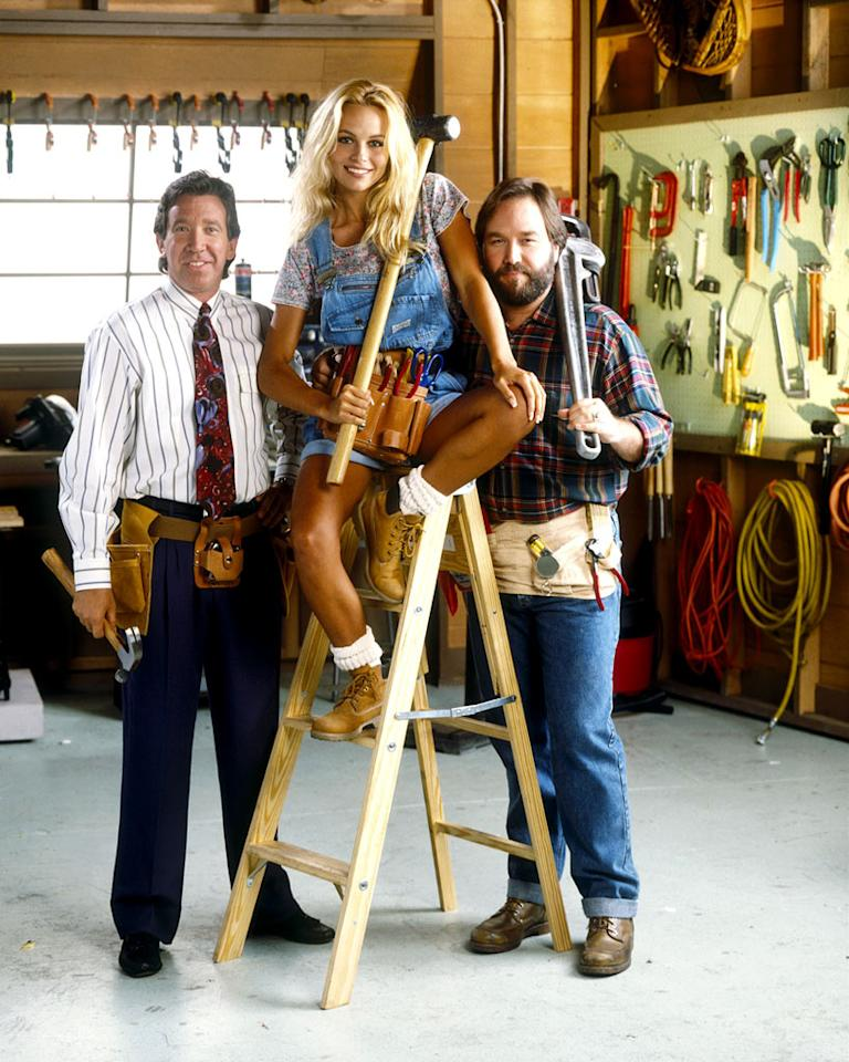 "Tim Allen stars as Tim Taylor, Pamela Anderson stars as Lisa, and Richard Karn stars as Al in ""Home Improvement."""