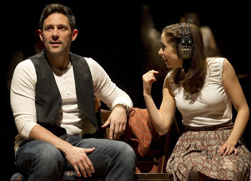 """In this theater image released by Boneau/Bryan-Brown, Steve Kazee, left, and Cristin Milioti are shown in a scene from """"Once,"""" in New York. (AP Photo/Boneau/Bryan-Brown, Joan Marcus)"""