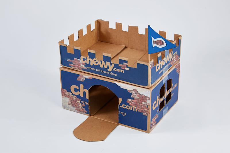 Castle cut out of Chewy.com delivery boxes.