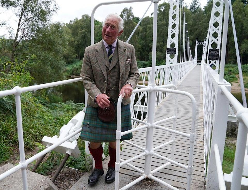 The Prince of Wales visited the Cambus O'May suspension bridge (Andrew Milligan/PA) (PA Wire)