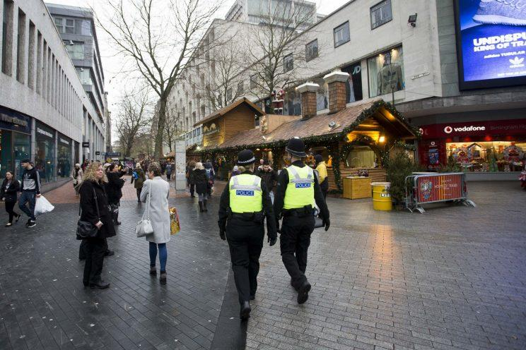 Police on patrol in Birmingham city centre (Picture: SWNS)