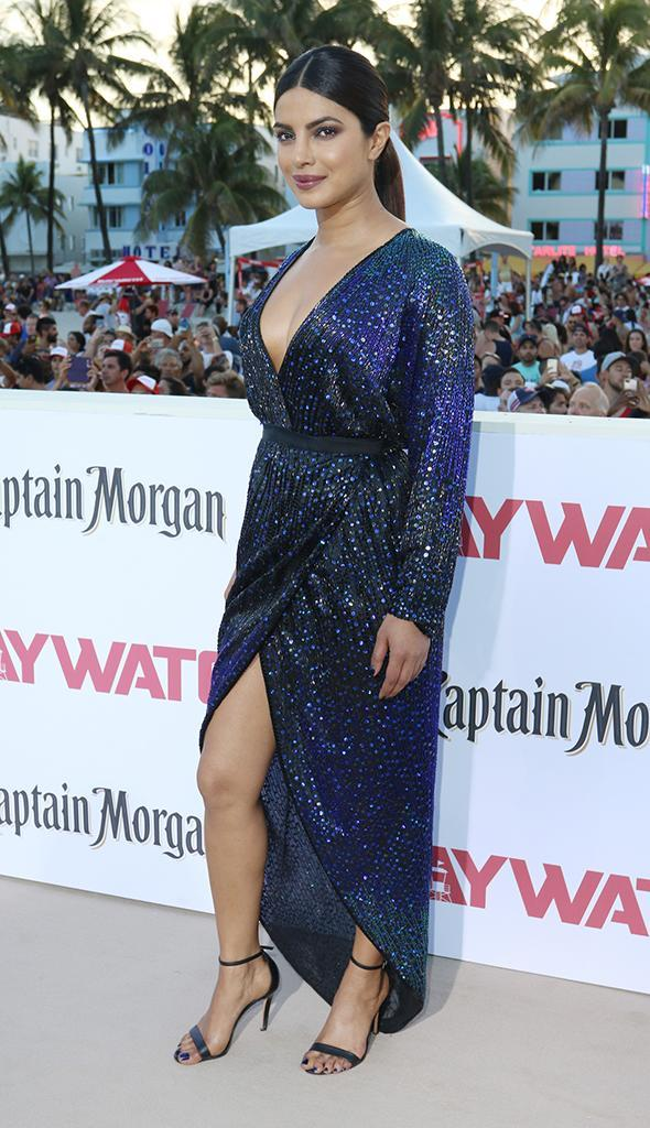 Priyanka Chopra was shimmeringly gorgeous in her blue gown at the world premiere of <em>Baywatch</em> in Miami on May 13. (Photo: John Parra/Getty Images for Paramount Pictures)