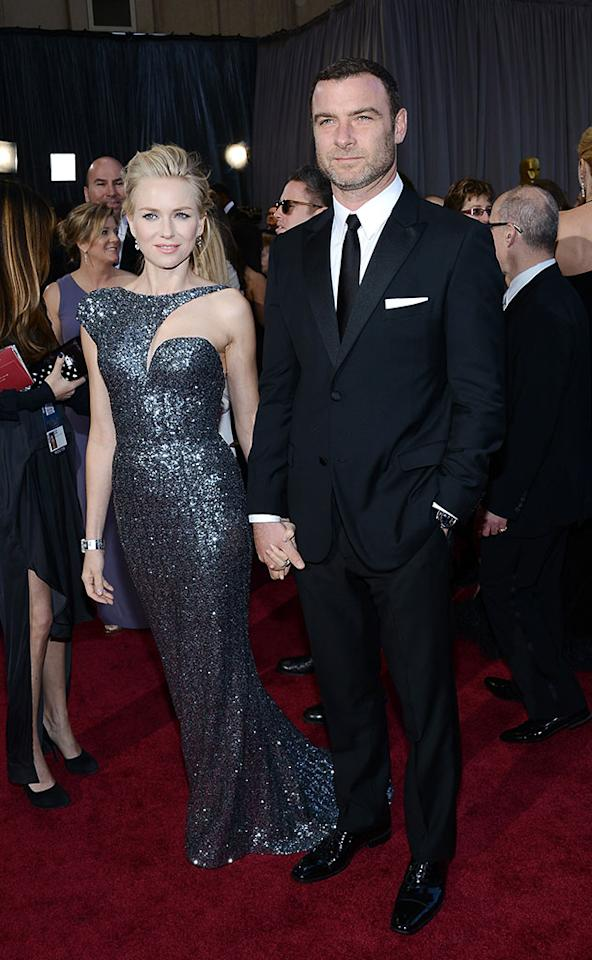 Naomi Watts and Liev Schreiber arrive at the Oscars in Hollywood, California, on February 24, 2013.