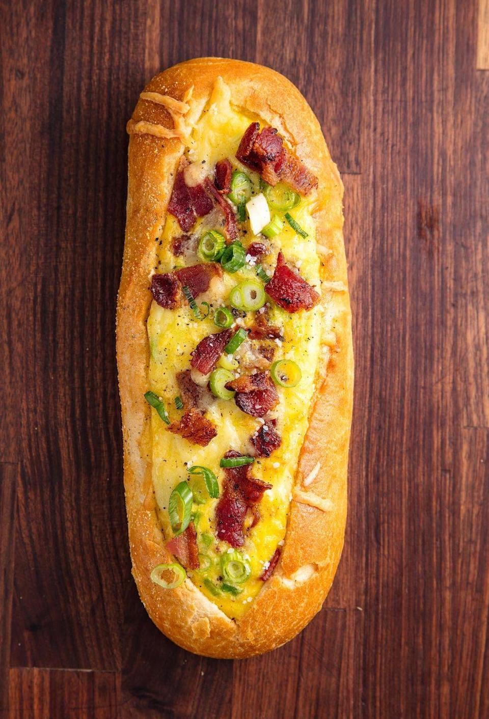 """<p>Bacon, eggs, and cheese. A match made in heaven.</p><p>Get the recipe from <a href=""""/cooking/recipe-ideas/recipes/a50967/breakfast-stuffed-bread-recipe/"""" data-ylk=""""slk:Delish"""" class=""""link rapid-noclick-resp"""">Delish</a>.</p>"""
