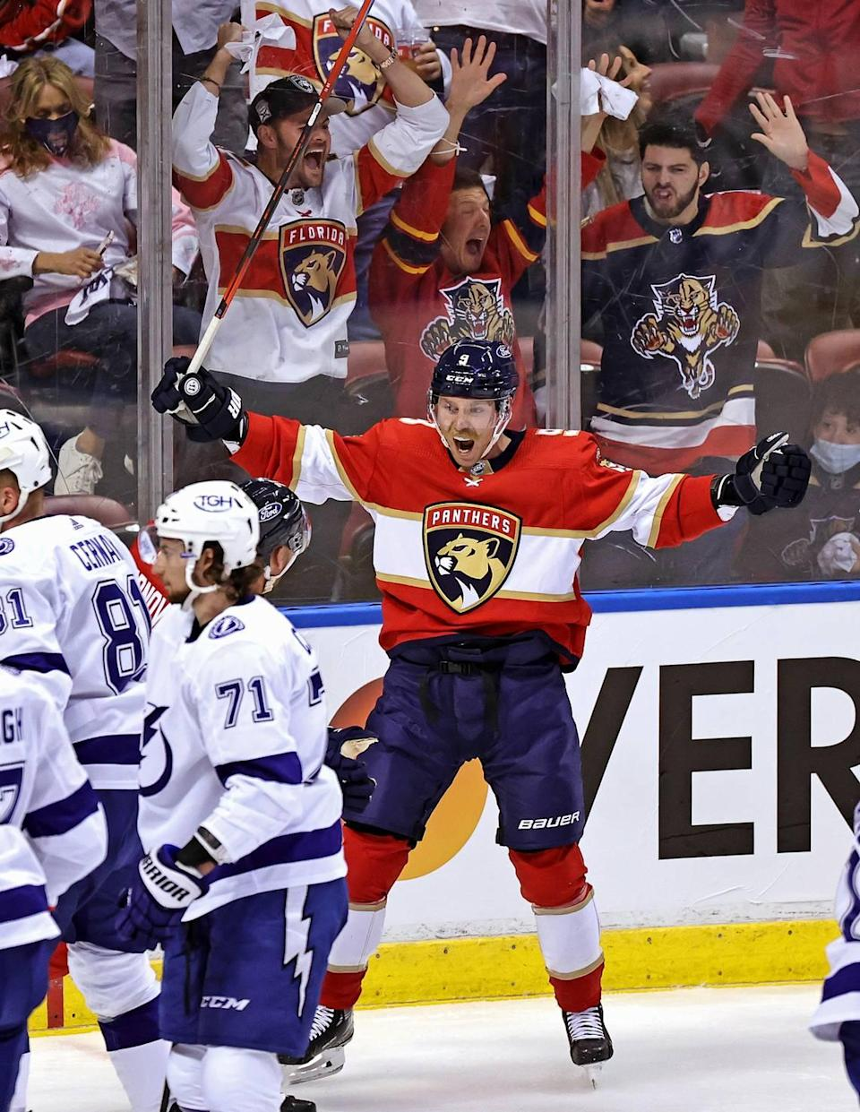 Florida Panthers center Sam Bennett reacts after a play against the Tampa Bay Lightning during the first period of game 1 of their first round NHL Stanley Cup series at the BB&T Center on Sunday, May 16, 2021 in Sunrise, Fl.