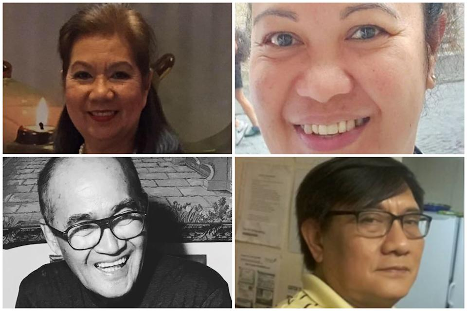 Four of the Filipino health and care workers who have died during the pandemic. Clockwise from top left: Resy Manalo, Elma Cavalida, Norman Austria and Eleuterio Gibela. (PA)