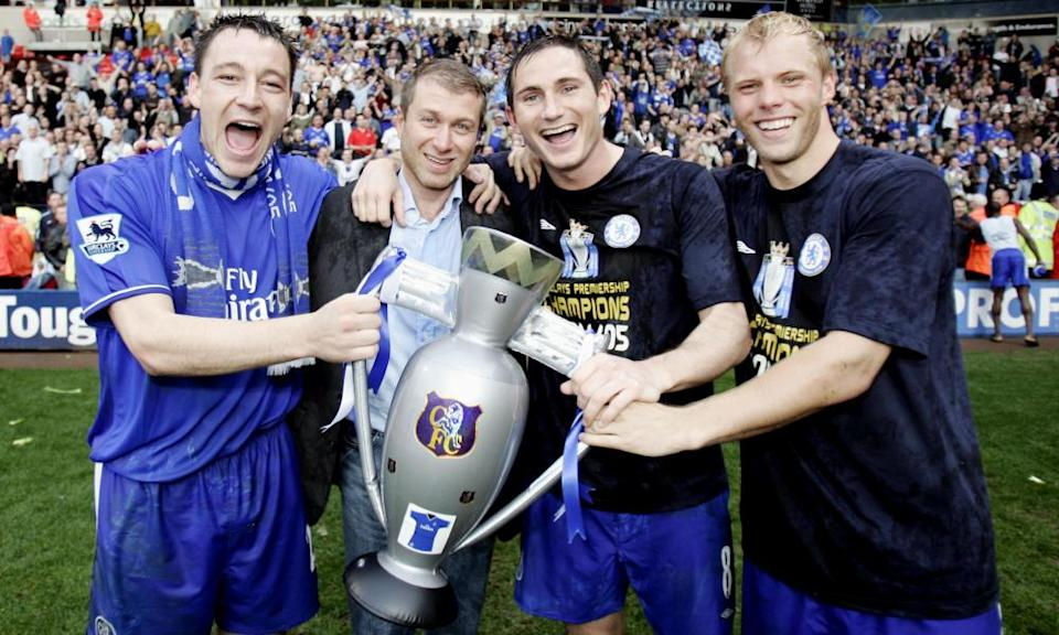 John Terry, Roman Abramovich, Frank Lampard and Eidur Gudjohnsen celebrate at Bolton with a blow-up trophy after Chelsea's 2005 title win