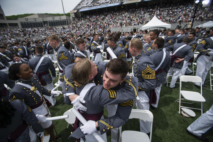 United States Military Academy graduating cadets celebrate at the end of their graduation ceremony of the U.S. Military Academy class of 2021 at Michie Stadium on Saturday, May 22, 2021, in West Point, N.Y. (AP Photo/Eduardo Munoz Alvarez)
