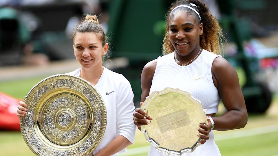 Serena Williams finished second behind Simona Halep in the women's singles final at Wimbledon in 2019 Photo: Getty