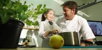 TV chef James Martin with competition winner Demelza Hart at Killermont primary school in Glasgow.