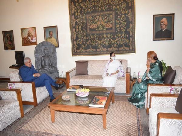 Governor Dhankar and Chief Minister Mamata Banerjee in Raj Bhavan on Wednesday.