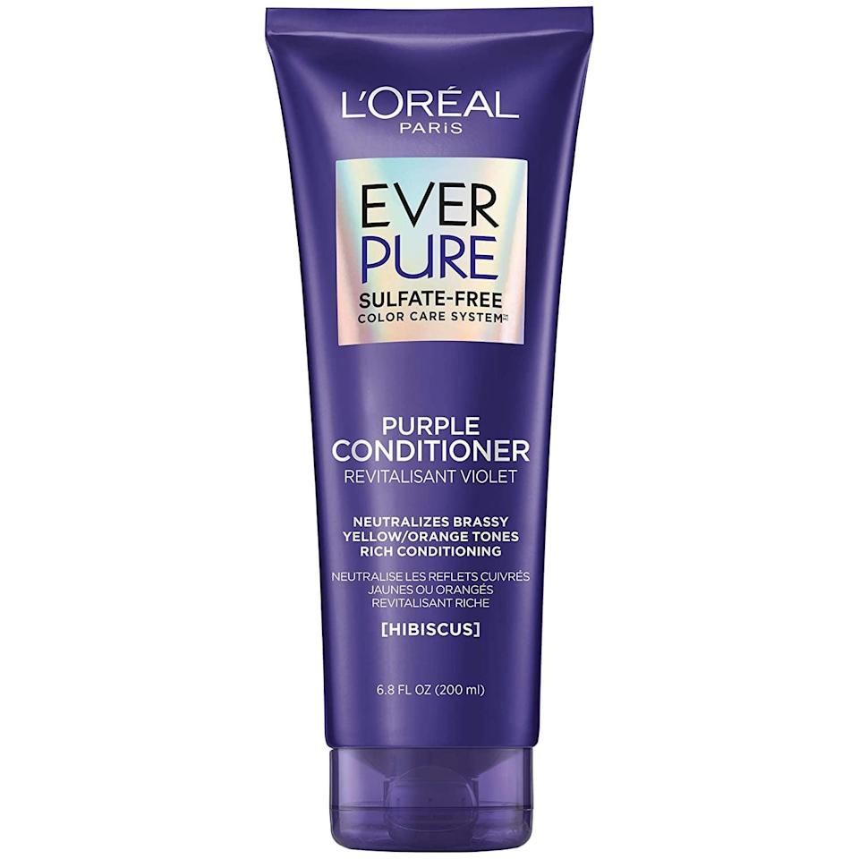 <p>If you have blonde, bleached, or silver hair, remove those brassy yellow tones with this <span>L'Oreal Paris Hair Care EverPure Sulfate Free Brass Toning Purple Conditioner</span> ($7).</p>