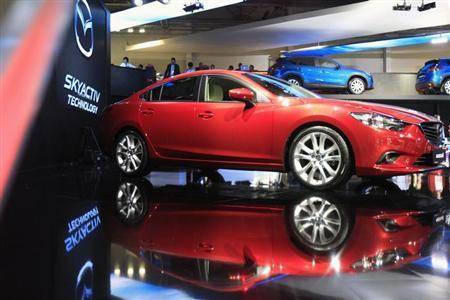 A Mazda 6 is seen on display during the preparations for the Moscow International Automobile Salon