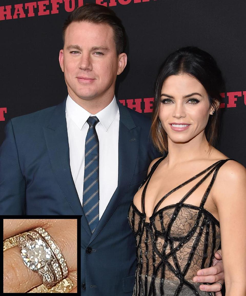 <p>Channing Tatum proposed to <em>Step Up </em>costar Jenna Dewan in 2008 while in Maui with an intricate Neil Lane diamond ring. The couple wed in 2009.</p>