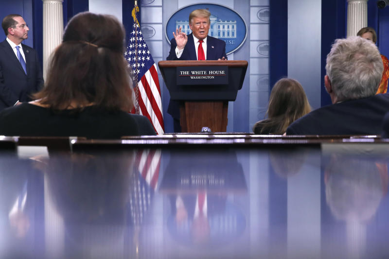 President Donald Trump speaks about the coronavirus in the James Brady Press Briefing Room of the White House, Friday, April 3, 2020, in Washington. (AP Photo/Alex Brandon)
