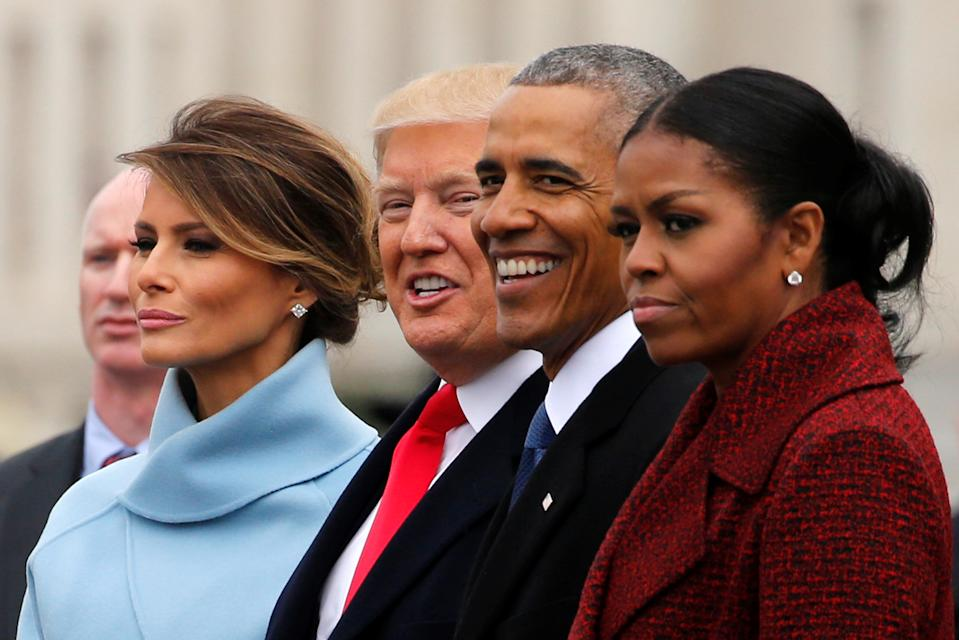 U.S. President Donald Trump and first lady Melania Trump see off former U.S. President Barack Obama and his wife Michelle Obama as they depart following Trump's inauguration at the Capitol in Washington, U.S. January 20, 2017. REUTERS/Jonathan Ernst     TPX IMAGES OF THE DAY